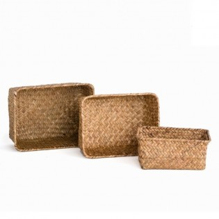 Set de 3 Canastos Dulav Rectangular Brown de Mimbre.
