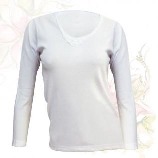 Camiseta de Mujer Morley Don Juan Manga Larga con Detalle y Aplique, 100% Algodón en Small y Medium.