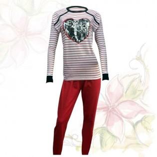 Pijama de Mujer Don Juan Liso Rayado con Pantalon Achupinado Diseño New York, 100% Algodón en Large y X-Large.