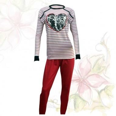 Pijama de Mujer Don Juan Liso Rayado con Pantalon Achupinado Diseño New York, 100% Algodón en Small y Medium.