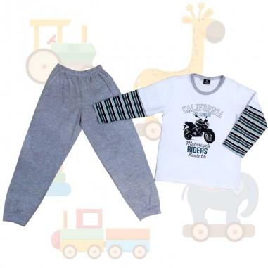 Pijama Infantil Don Juan Varon Combinado con Pantalon Diseño Moto, 100% Algodón de 4 a 14 años.