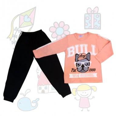 Pijama Infantil Don Juan Mujer Combinado con Pantalon Diseño Perrito, 100% Algodón de 4 a 14 años.