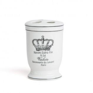 Porta Cepillo de Dientes Dulav Modelo Arte Corona de Ceramica.