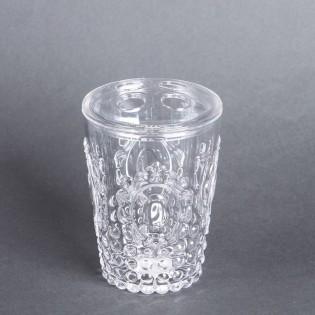Porta Cepillo de Dientes Dulav Modelo Cairel Color Cristal de Acrilico.