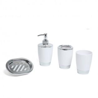 Set de Baño Dulav 4 Piezas Circular con Disepenser de Jabon, Vaso, Porta Cepillos y Jabonera todo en Plastico.