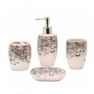 Set de Baño Dulav 4 Piezas Ramas con Disepenser de Jabon, Vaso, Porta Cepillos y Jabonera todo en Ceramica.