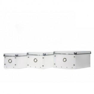 Caja Organizadora Dulav de Gran Estética Blanca con Punteras en Metal de Plastico.