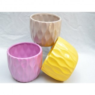 Macetero Circular Ruwadama Diseño Hondas de Agua de Ceramica.