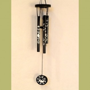 Llamador de Angeles Ruwadama Negro Modelo Ying Yang Top Redd Medio de Madera.