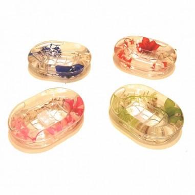 Jabonera Ruwadama Transparente Diseño con Flores de Plastico.