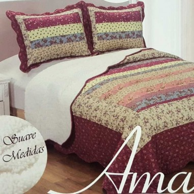 Cubrecama AMA Quilt Estampado Con Corderito Micromatelaseado para King Size con 2 Fundas de Almohada en 100% Poliester y PVC.
