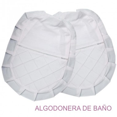 Algodonera de Baño JAB de Tela con Rombo y Vainilla en Algodón y Poliester.
