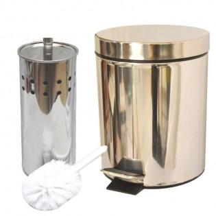 Set de Cesto y Escibillero Ruwadama Redondo Circular Limpia Inodoros en Acero de Metal Silver.