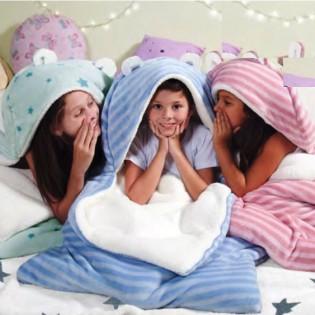 Frazada Infantil Palette Bolsa de Dormir de Flannel y Corderito Relleno para 1 y Media Plaza en 100% Microfibra.
